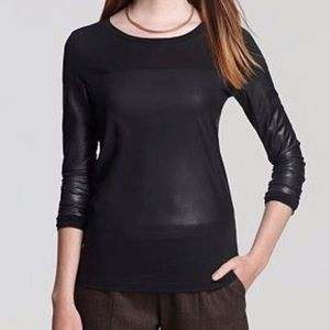 Theory Faux Leather Blocked Long Sleeve Top